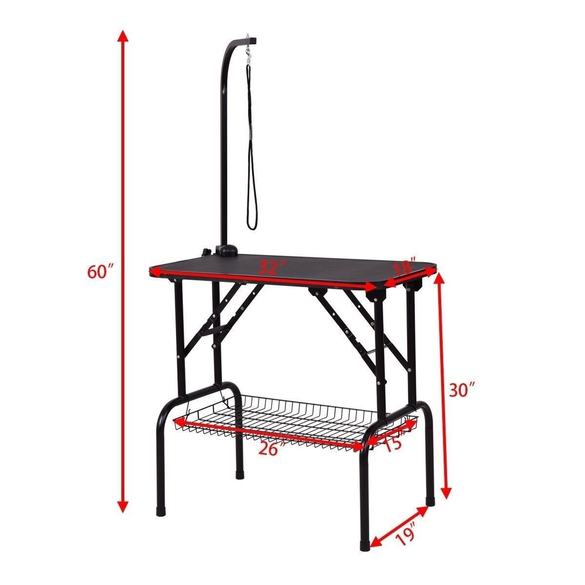 """32"""" Pet Grooming Table Durable Foldable Rubber Top"""