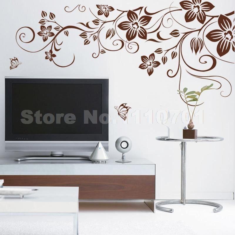 Brown Flower Vine DIY Vinyl Wall Stickers Home Decor Art Decals 3D  Wallpaper Bedroom Sofa House Part 66