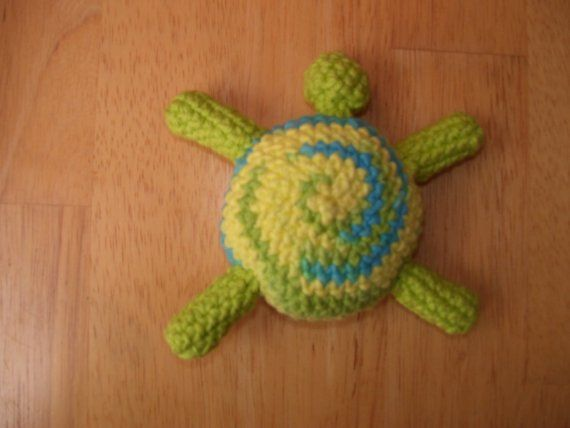 Cotton Amigurumi Turtle Plushie catnip Cat toy in Yellow and Green, crochet tortoise toy, kawaii toy