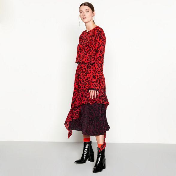 9f81de88be3b Studio by Preen Red leopard print silk high low dress | Debenhams ...