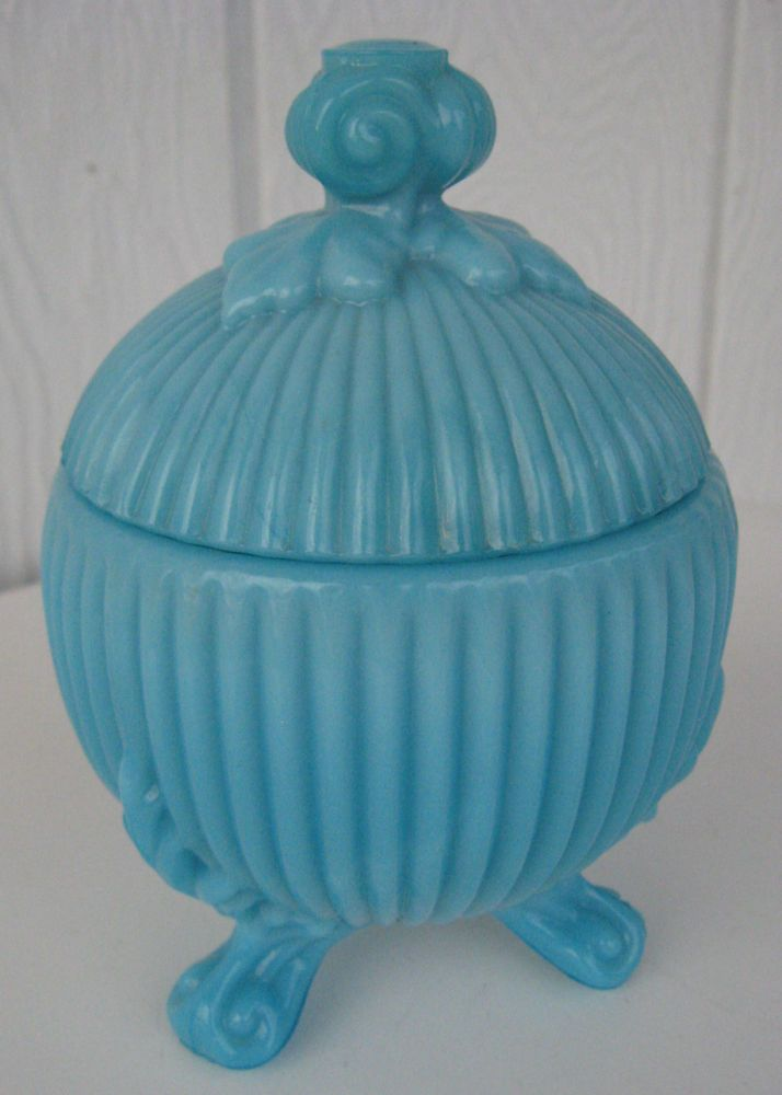 Portieux Vallerysthal France Turquoise Blue Milk Glass Dish Bowl Footed Acanthus Finial Lid