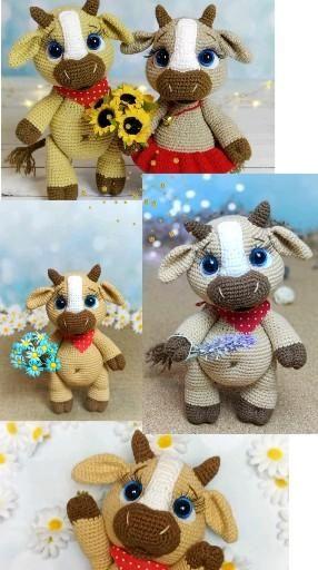 Crochet PATTERN cow & ox. Calf Amigurumi toys. Ami
