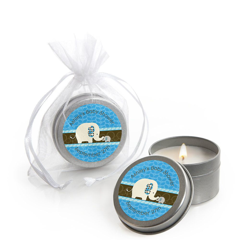 Blue Baby Elephant   Personalized Baby Shower Candle Tin Favors |  BigDotOfHappiness.com