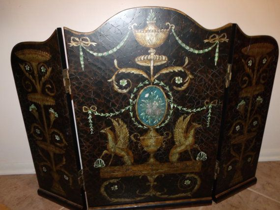 Vintage Horchow Three Panel Mahogany Fireplace Screen