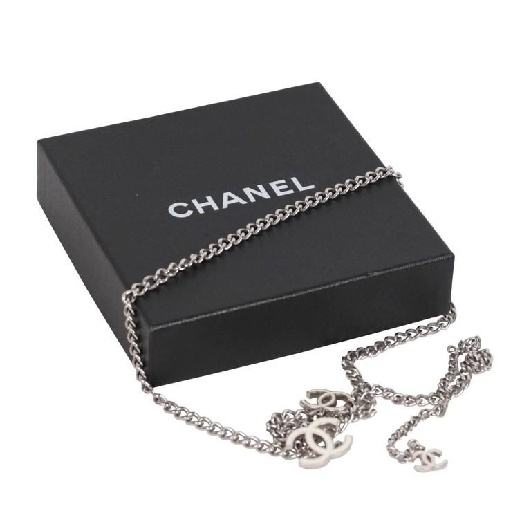 b91a2d18a1cb08 CHANEL Silver Metal CHAIN NECKLACE or BELT w/ CC Logo WHITE | yes og ...
