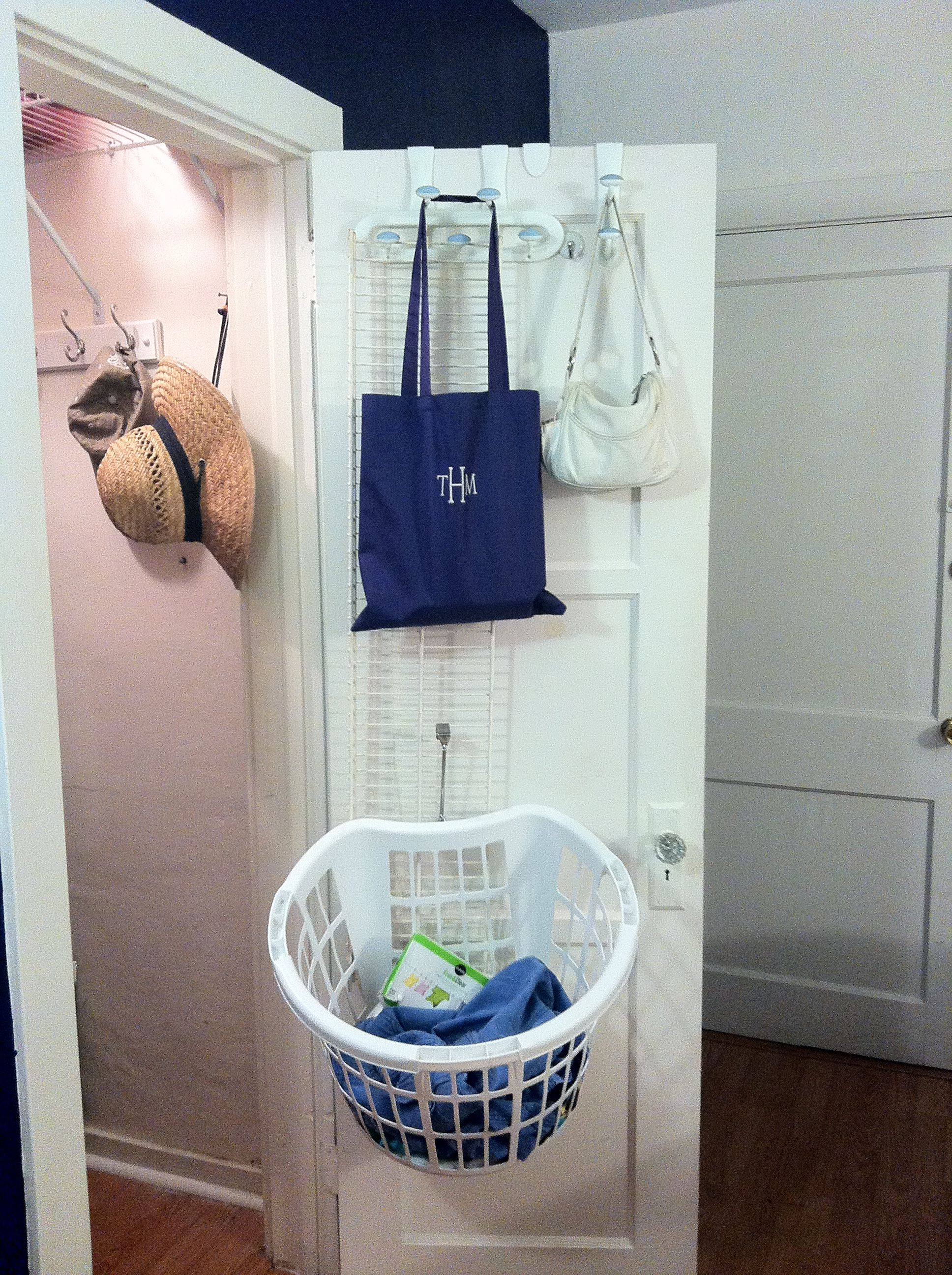 Laundry Basket Holder Use An Unwanted Closet Shelf And Your Over The Door Hooks To
