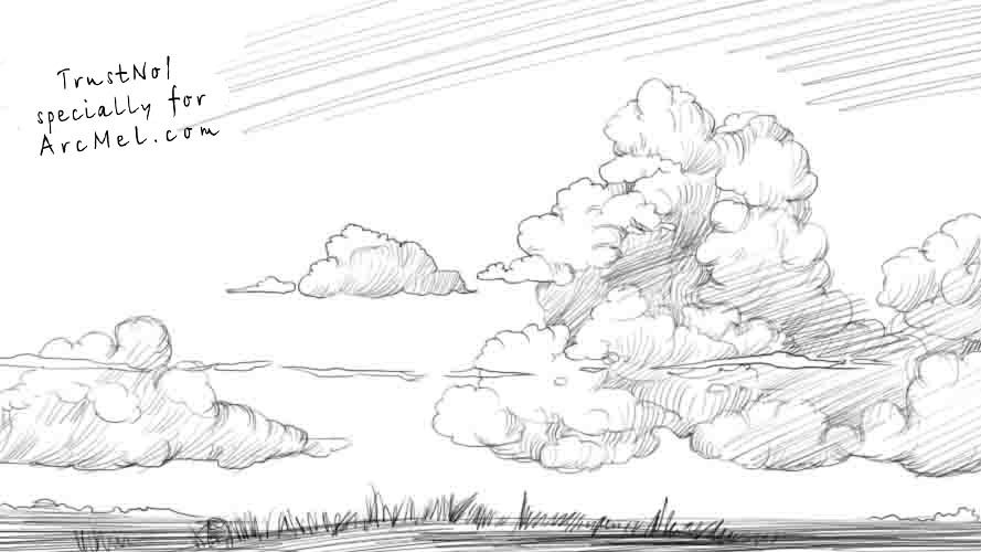 How To Draw The Sky Step By Step Cloud Drawing Drawings Landscape Pencil Drawings