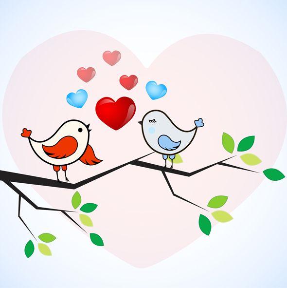 Romantic Love Birds Vector | Vector Bee | Animals and pets | Bird