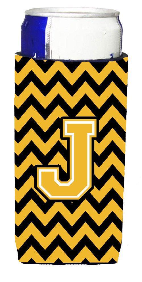 Letter J Chevron Black and Gold Ultra Beverage Insulators for slim cans CJ1053-JMUK