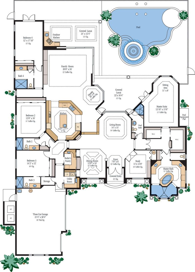 Dream home on pinterest floor plans house plans and for One story luxury home floor plans