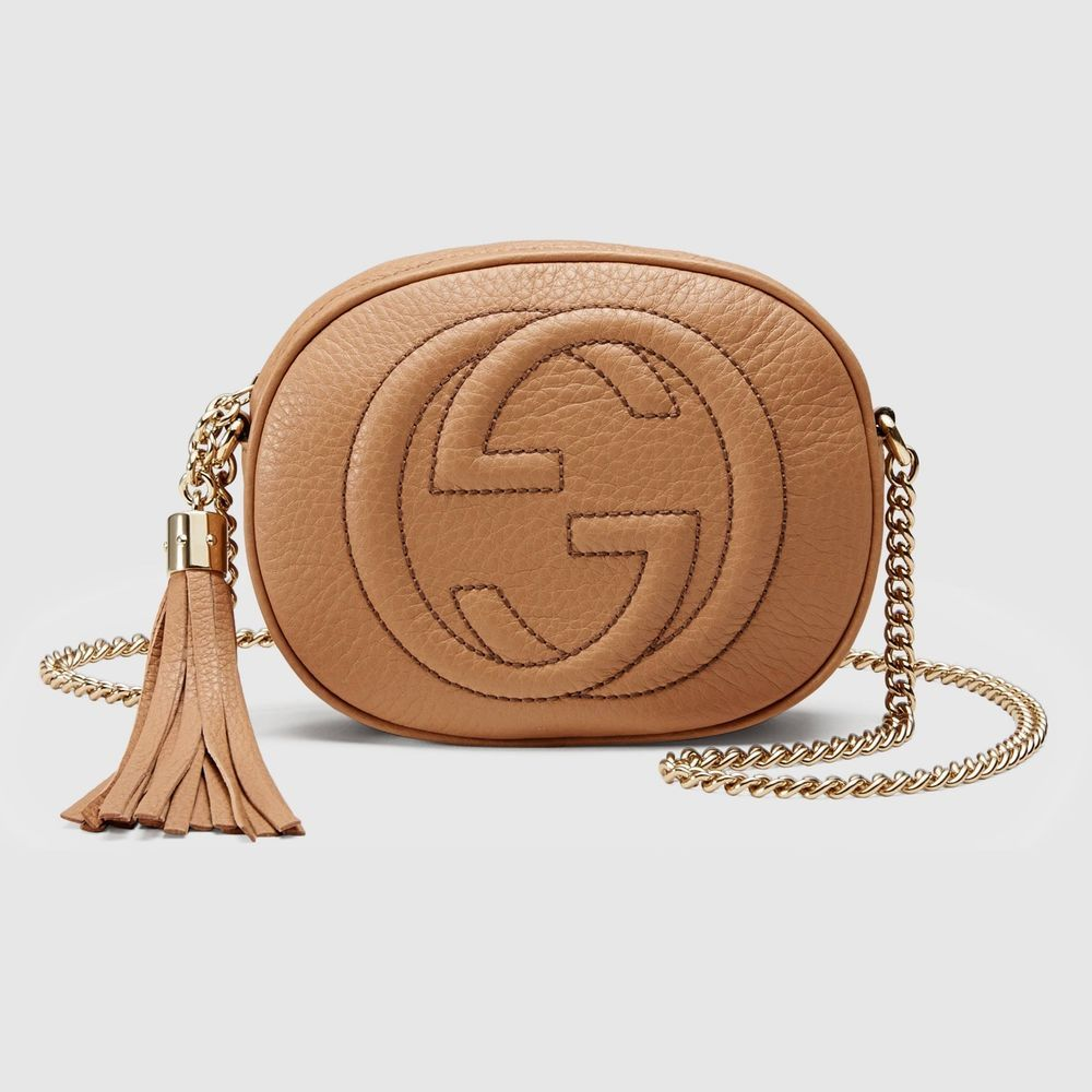 Gucci Womens Soho Rose Beige Leather Mini Chain Bag  Gucci  Crossbody 0bbdcded491c7