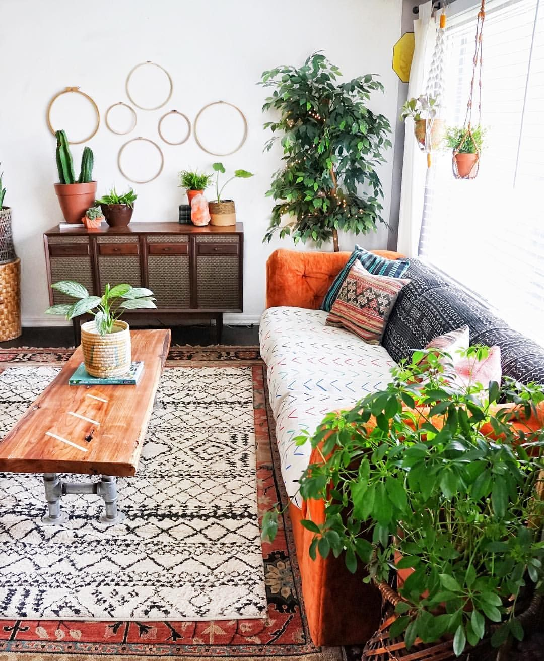 Today S Goal Tune Down The Orange In My Front Room My Solution Was To Use Mudcloth On The Orange Sof Bohemian Style Living Room Living Room Decor Home Decor #orange #sofa #living #room
