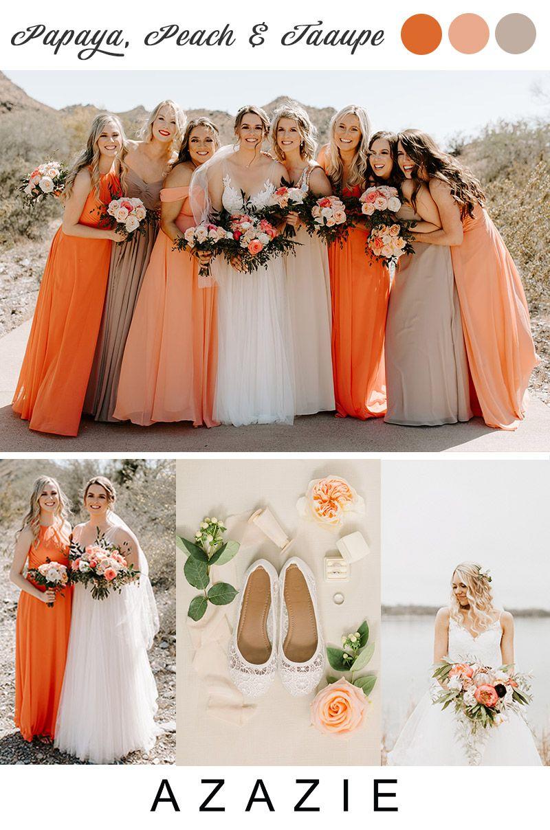 2020 Wedding Color Palette Bridesmaids Dresses Coral Peach Peach Pink Wedding Peach Bridesmaid Dresses [ 1208 x 800 Pixel ]