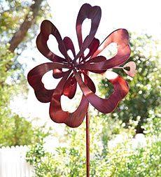 Oversized Metal Cloverleaf Wind Spinner Garden Art