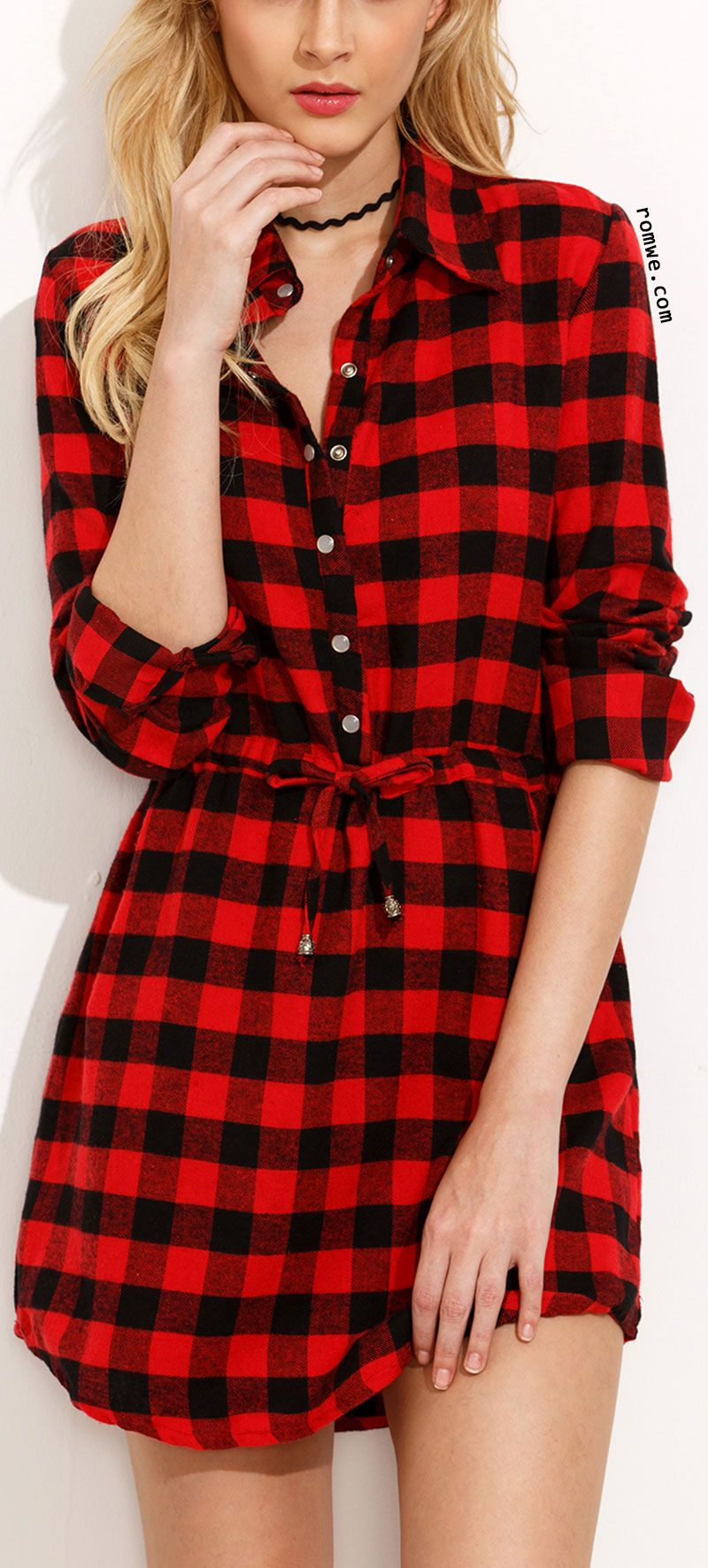 Red plaid drawstring waist shirt dress best fashion community