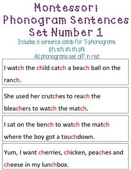 Montessori Phonogram Phonics Sentences Set Number 1 Phonics