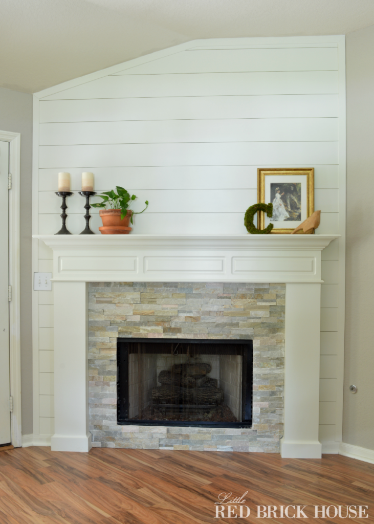 How To Add Stone Veneer To A Fireplace Little Red Brick