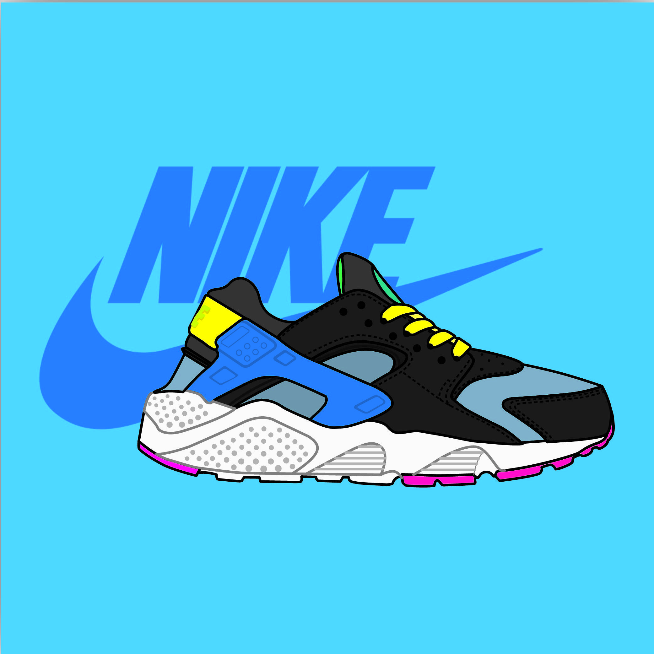 the latest a1e6a bf1c0 GCSE Art project  Nike Air Huaraches illustration