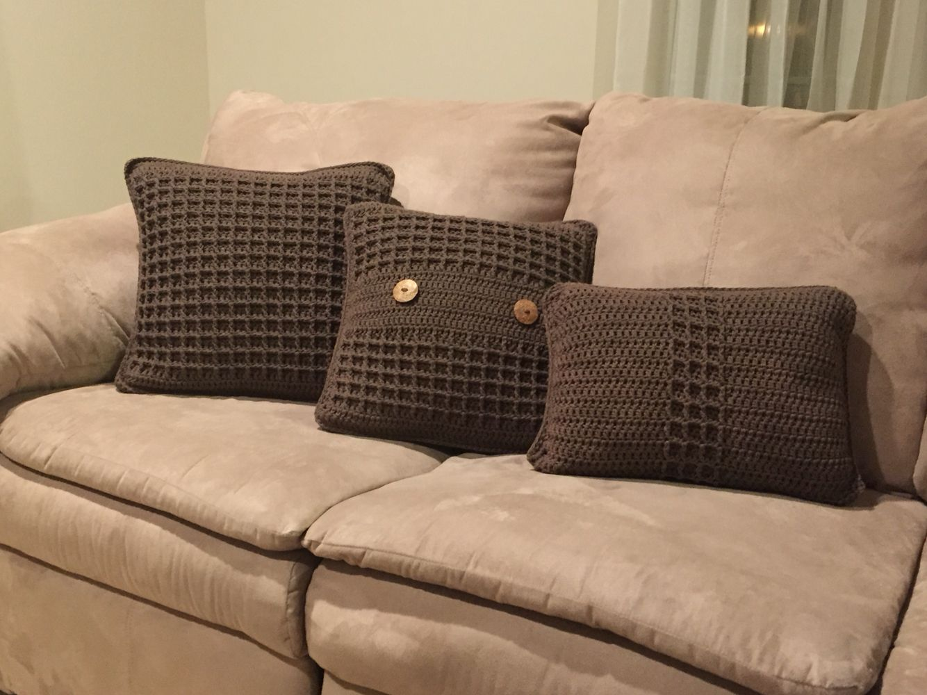 Couch cushions crochet waffle stitch crochet cushion cover crochet