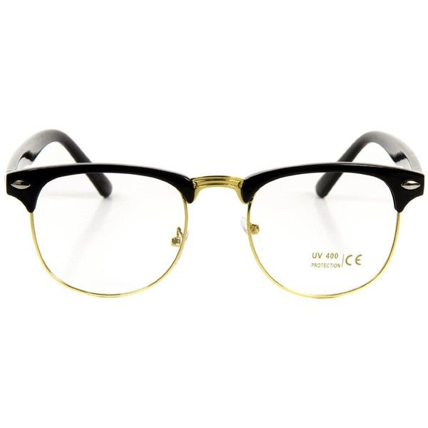 3c642e0cf Amazon.com: Vintage Inspired Classic Half Frame Horn Rimmed Clear Lens...  ($8.90) ❤ liked on Polyvore featuring accessories, eyewear, clear rimmed  glasses, ...