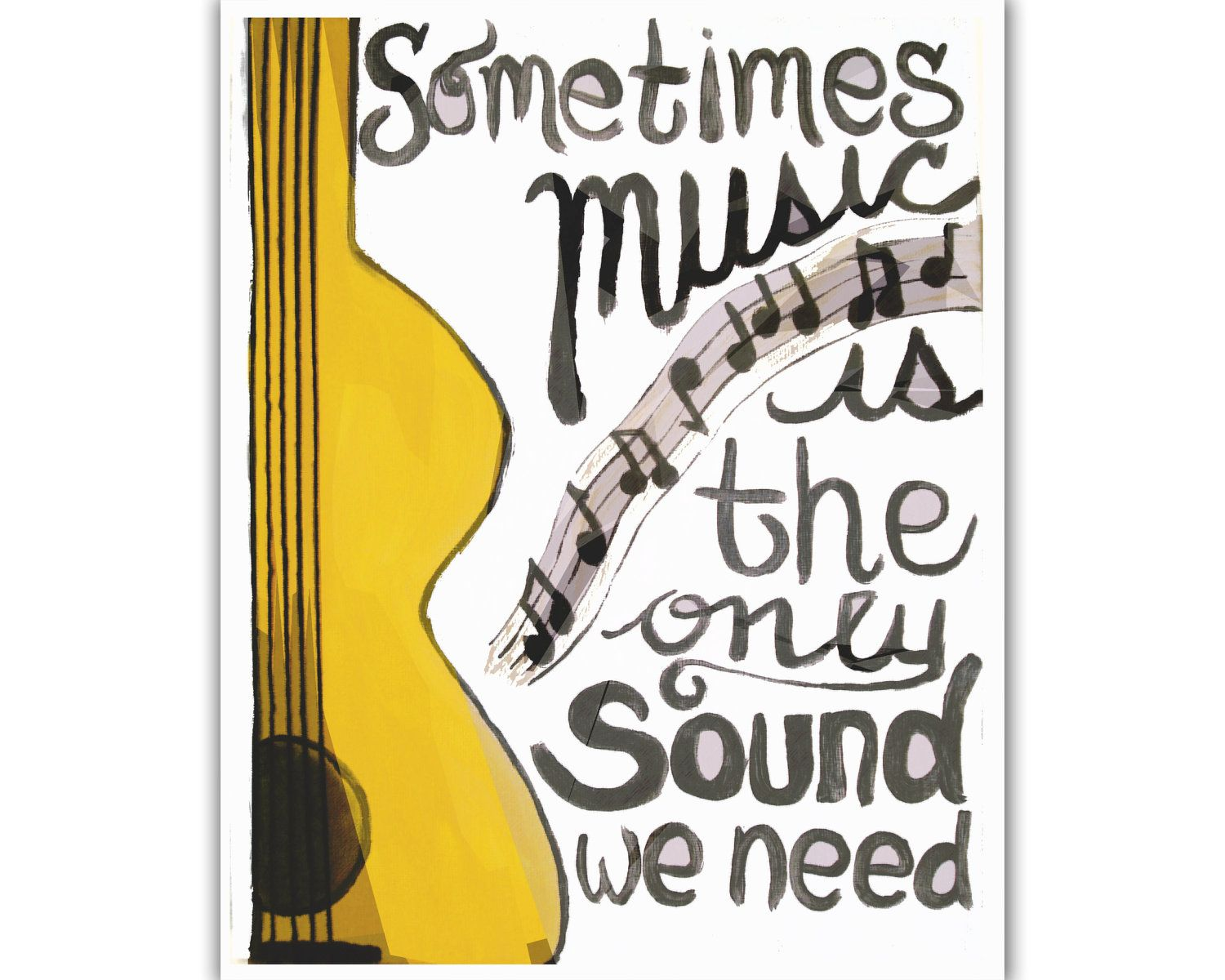 Music is the only sound we need - Canvas Print. $15.00, via Etsy ...
