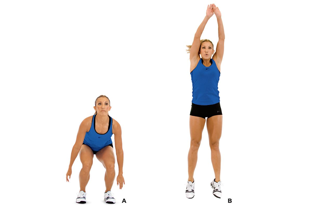 Jumping Fitness Squat Jump With Stabilization Exercise Pinterest