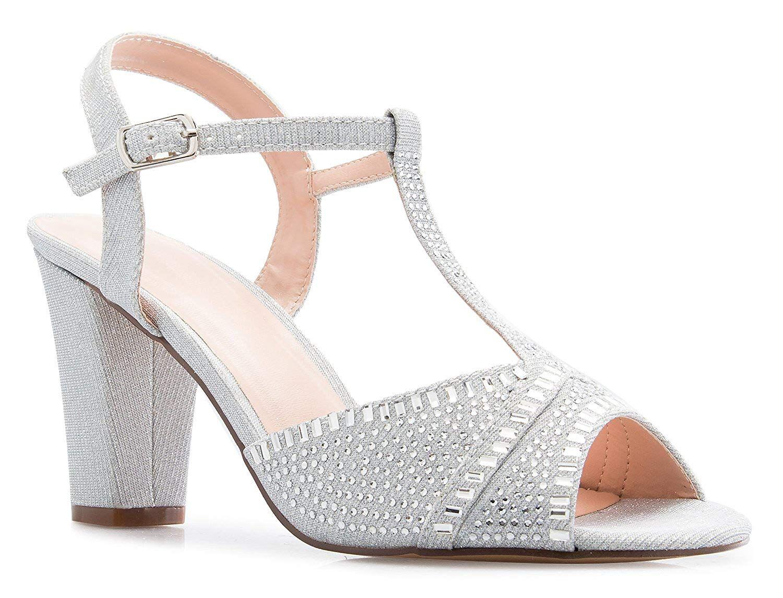 Womens Peep Toe Block High Heels Sandals Shoes Ankle Strap Rhinestone Elegant