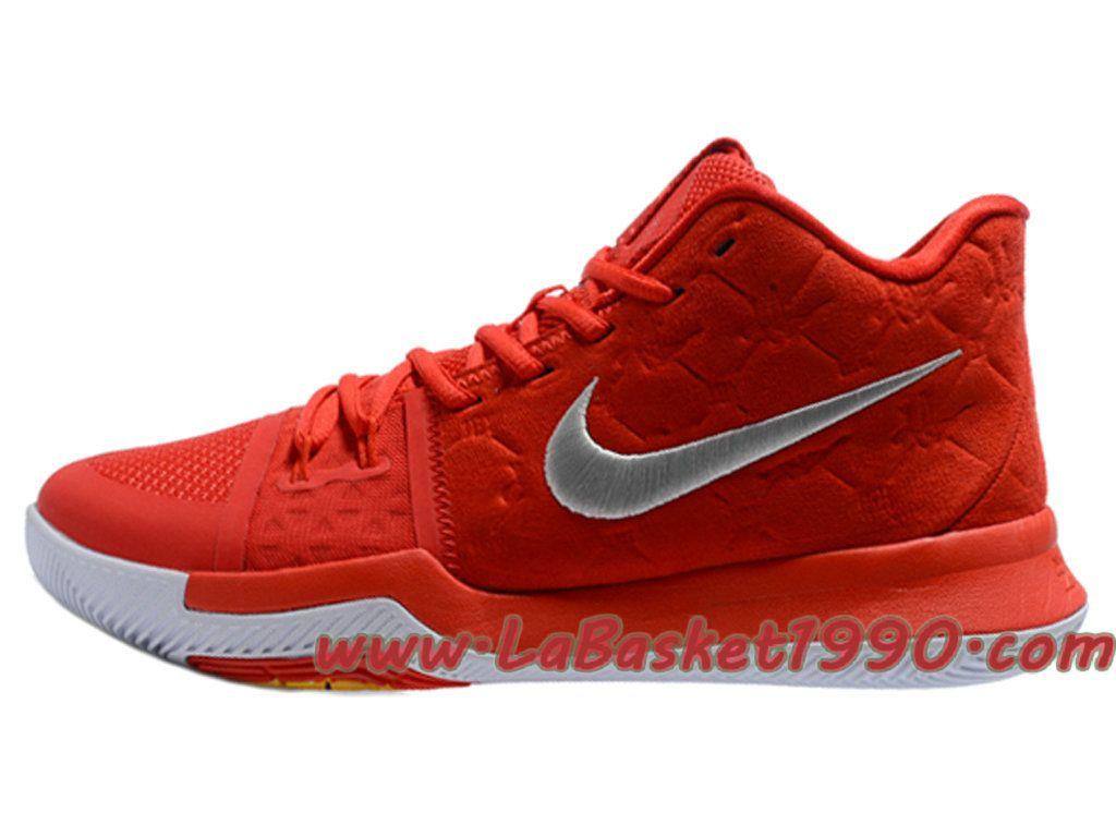 watch 656de 6fa53 Nike Kyrie 3 ID Chaussures de BasketBall Pas Cher Pour Homme Rouge Blanc