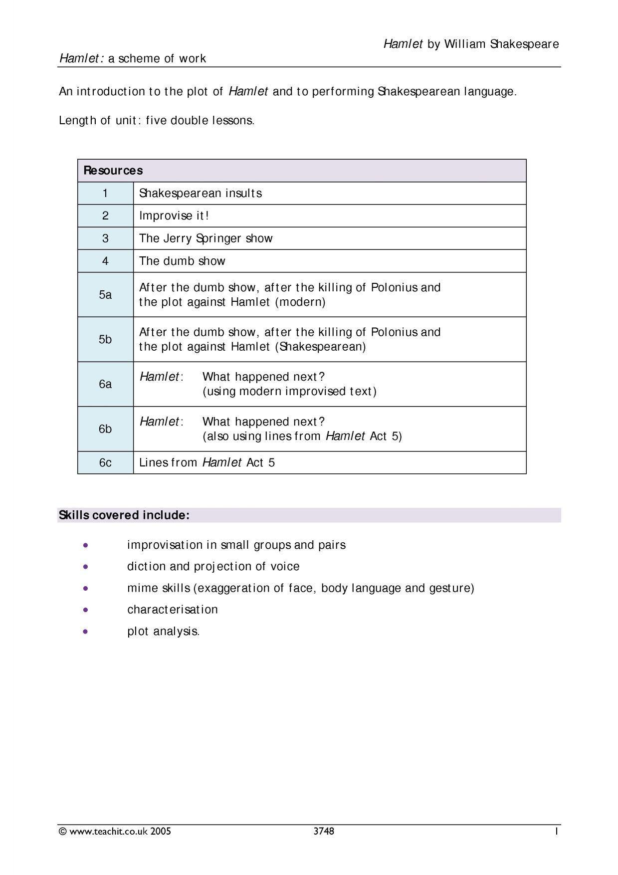 Periodic Shakespeare Language Worksheet