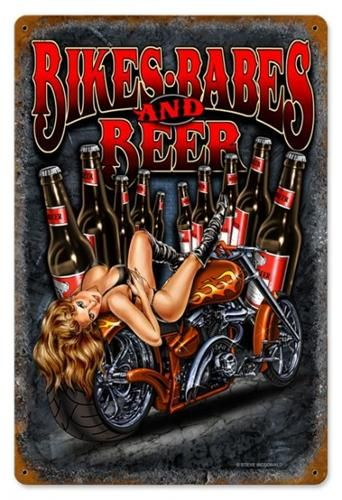 Harley Davidson Pin Up Girl Bikes Babes And Beer Pinups - Bmw motorcycle tin signs