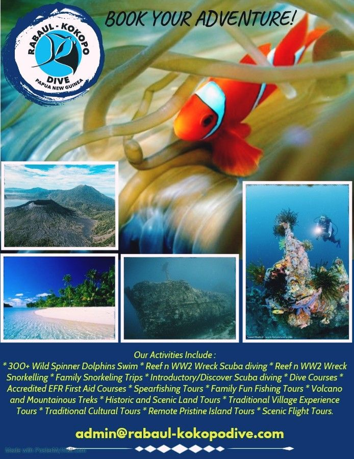 Use this time at home to your advantage! Start planning and book a holiday of a lifetime with Rabaul-Kokopo-Dive. We're offering special discounted rates NOW that have a 12 month validity. Get in touch with us today and SAVE!  Email : admin@rabaul-kokopodive.com   #rabaulkokopodive #travelblogger #dolphinswim #photoocal #vacation #paditv #padi #diveyourdream #scubaddict #diverlife #underwater_world #scubagram #scubadivinginternational #historicaltours #scubaphotography #underwaterimages #scubaea