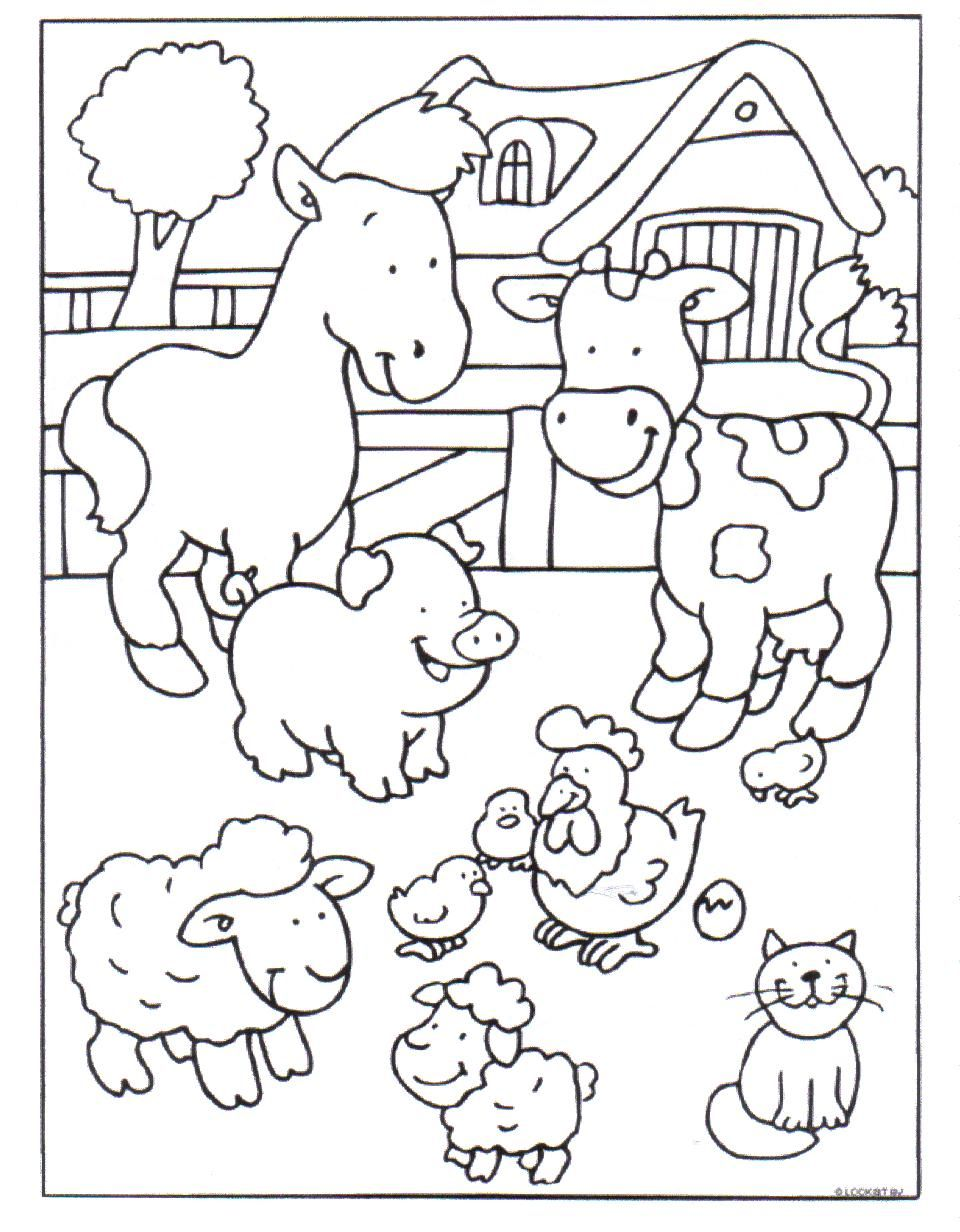 Kleurplaat Boerderij Farm Coloring Pages Farm Animal Coloring