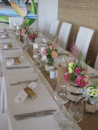 Vintage, sackcloth and wedding flowers