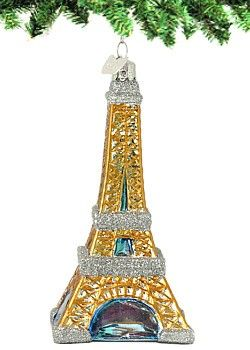 France Christmas Souvenir Travel Gift Eiffel Tower Paris Glass Ornament