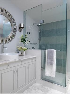 Light Blue And Carrara Marble In The