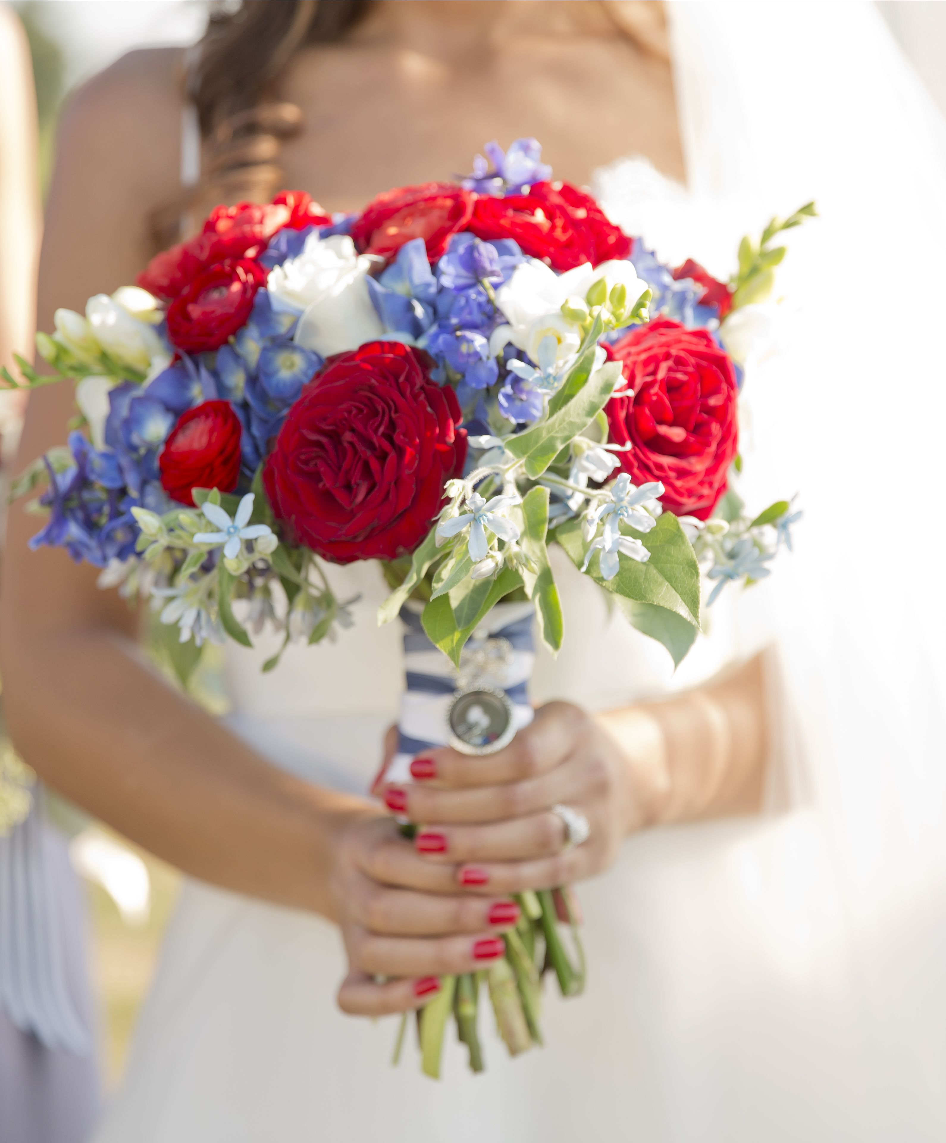 Red White And Blue Rose Bridal Bouquet