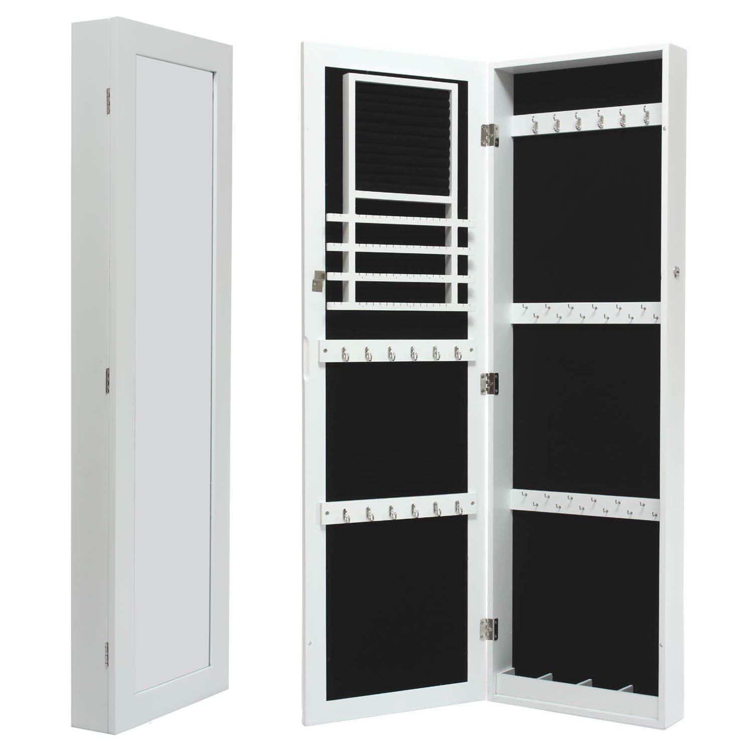 White Mirrored Jewelry Cabinet Armoire Wall Door Mount Organizer