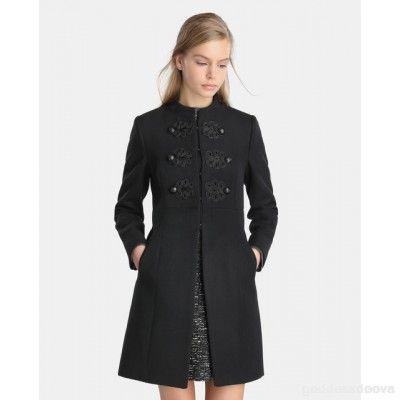 1a6ee14461b Comprar Abrigo de mujer Tintoretto de paño con pasamanería Negro Tintoretto  RKRPXFA
