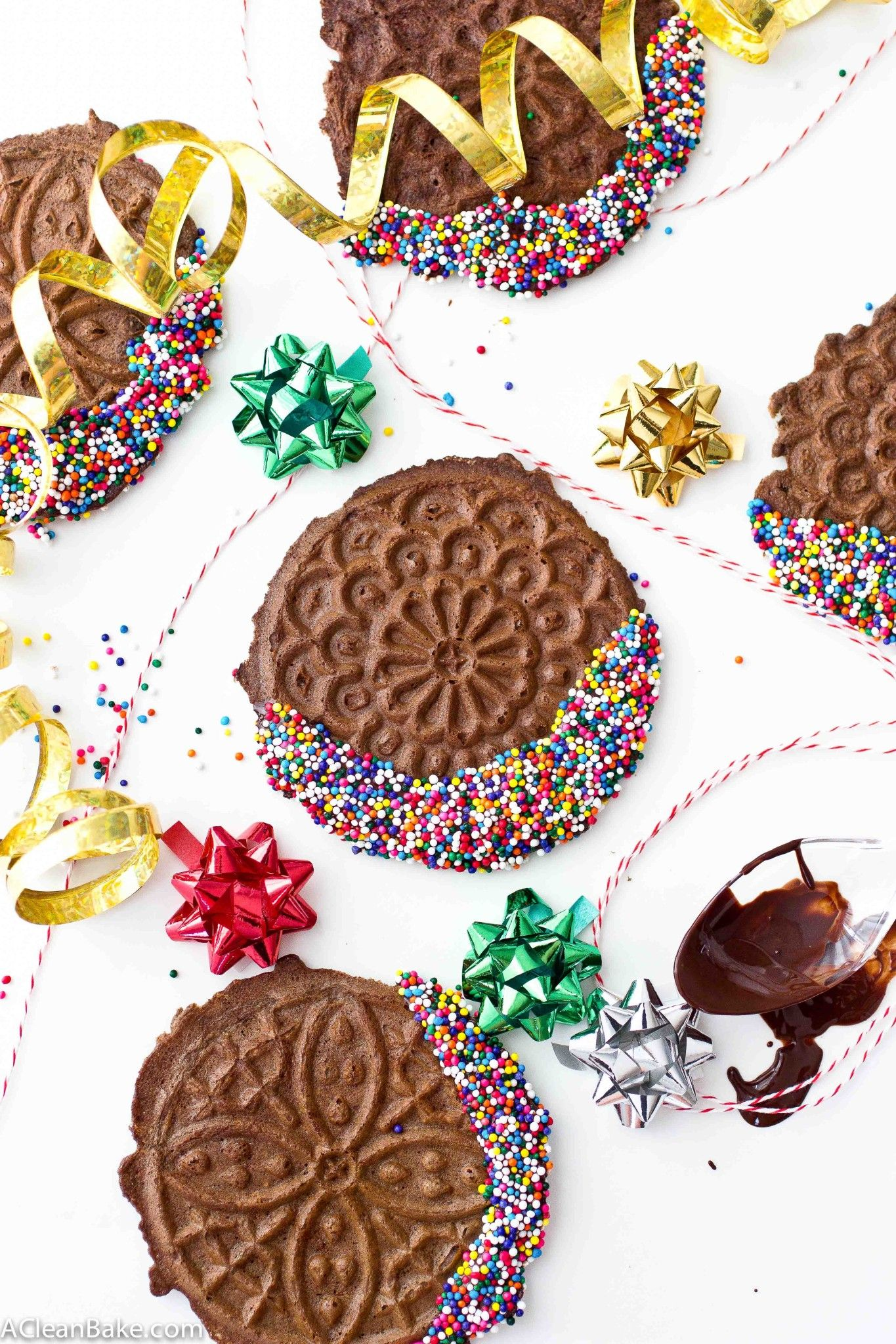 Grain free chocolate pizzelles with simple mills