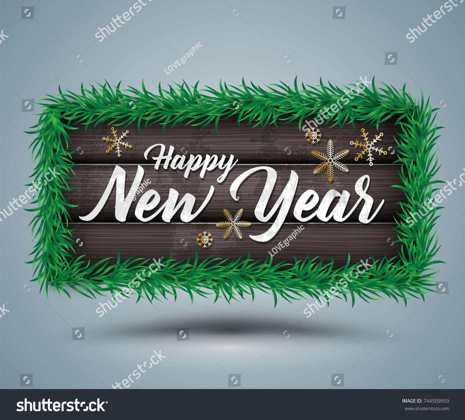 Happy New Year Lettering On Modern Wood Banner For New Year Element