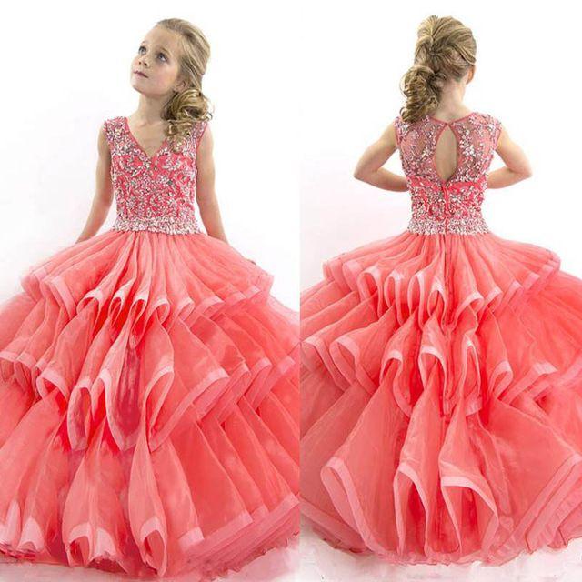 2016 bebé Coral Con Gradas Largos vestidos de niña para las bodas ...