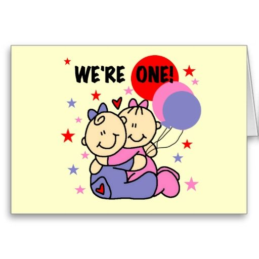 Twins Were One Birthday Tshirts And Gifts Card Twins Birthday