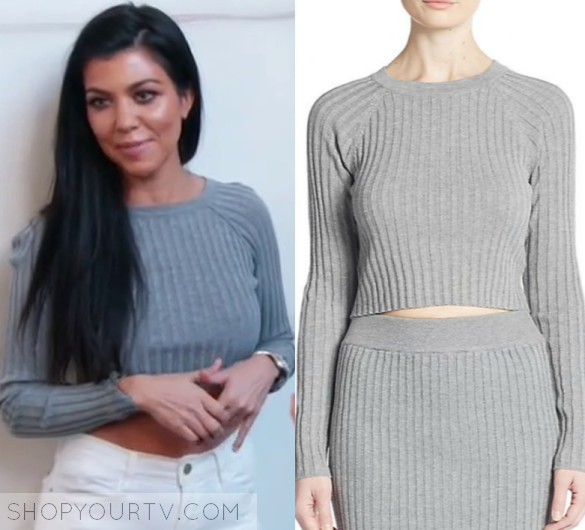 KUWTK: Season 12 Episode 4 Kourtney's Grey Ribbed Sweater | Worn ...