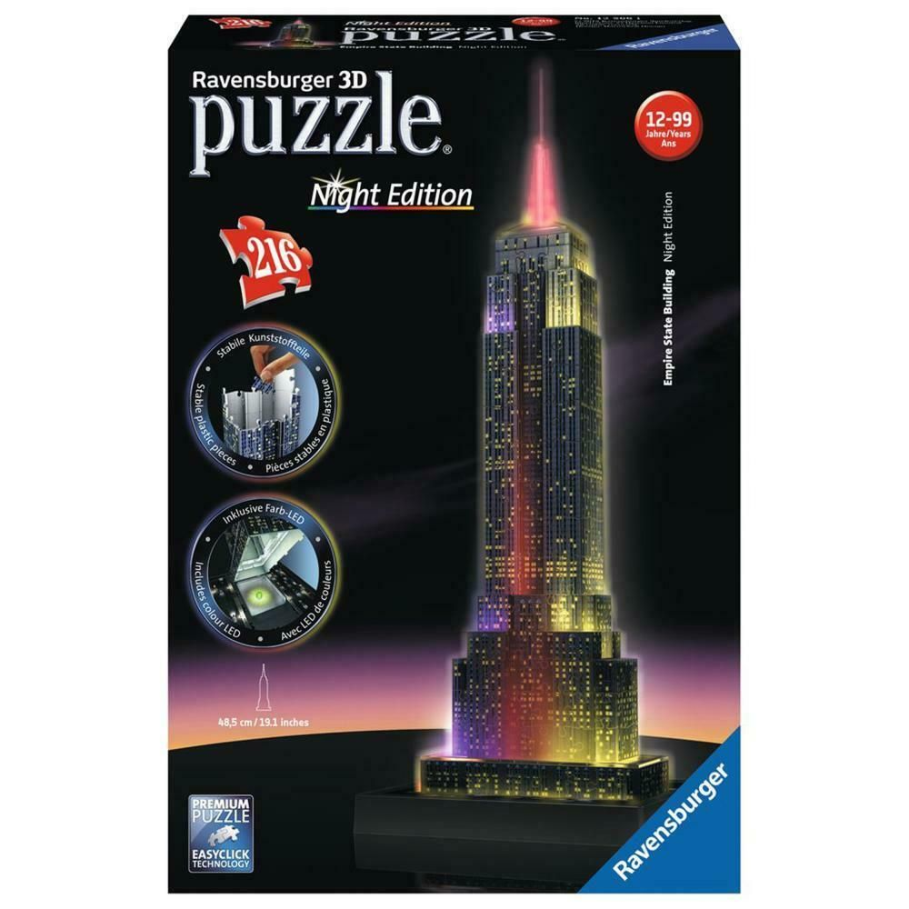 Ravensburger 3d Puzzle Empire State Building Bei Nacht Night Edition 216 Teile 3d Puzzel Empire State Empire State Building