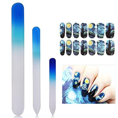 New8beauty Crystal Gl Nail Files Manicure Pedicure Set 3 Pack With Free Van Gogh Starry Nights Decoration Stickers