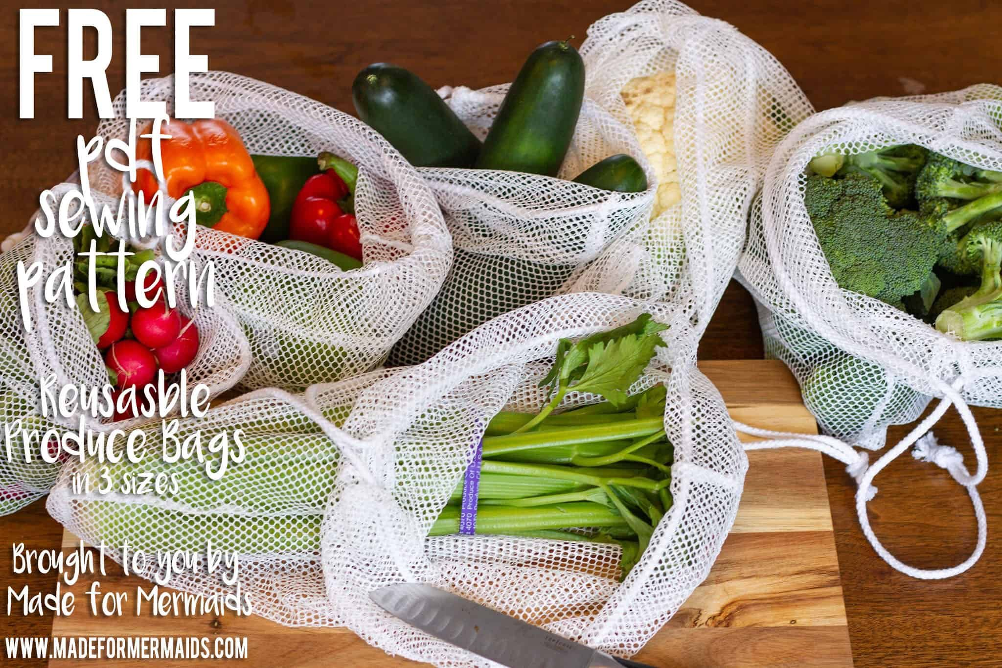 Day 11  Produce Bags - Produce bags, Homemade bags, Bag pattern, Reusable produce bags, Sewing basics, Sewing patterns free - On the 11th day of Christmas, Made for Mermaids gave to me      a reusable produce bag in 3 different sizes!! They are a quick and easy project that are perfect for those looking to reduce