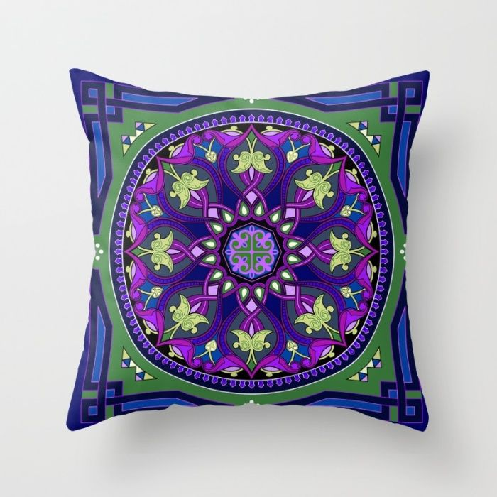 Boho Floral Crest Blue and Purple Throw Pillow