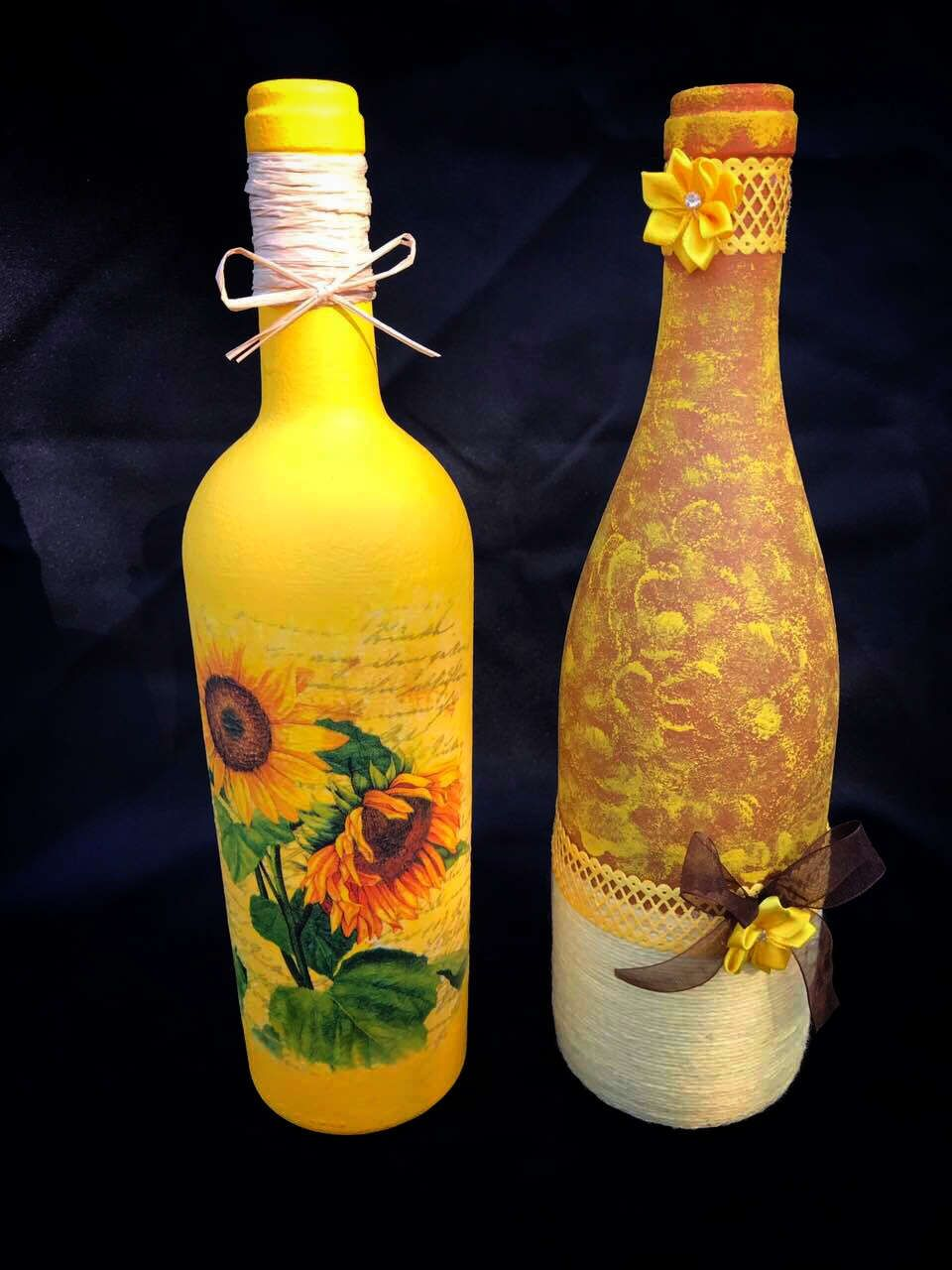decorated glass bottles. Decorated Wine Glass Bottles Set Decoupage Craft  Art Sunflowers Home Decor Table Display Yarn Centerpieces