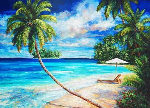 Island Morning by Sissi Janku ~ tropical art