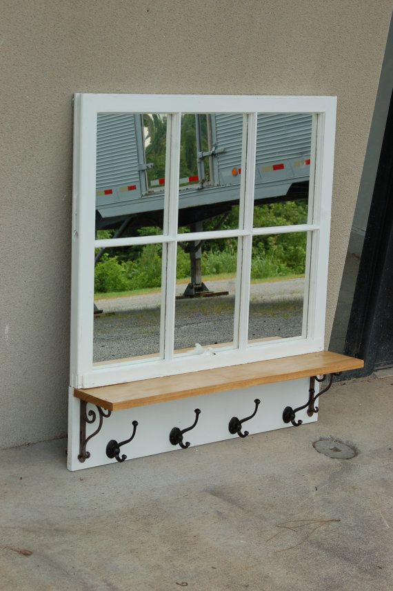 Antique Window Pane Mirror With A Pine Shelf Iron Brackets And Hooks Windows Shelves
